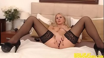 sexy blonde puts white on stockings Old yeoung sex