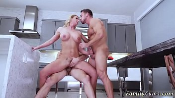 mom and duther4 Sexy blonde gives footjob